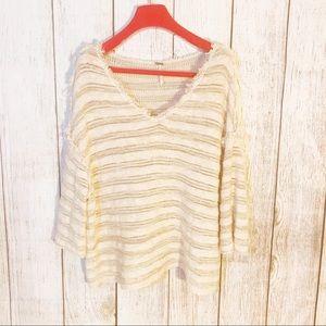 FREE PEOPLE Oversized Striped V-Neck Sweater